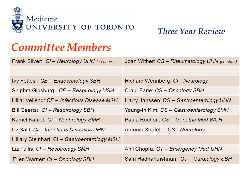 Three Year Review Committee Members Frank Silver: CI – Neurology UHN (co-chair) Joan Wither: CS – Rheumatology UHN (co-chair) Ivy Fettes : CE – Endocrinology SBHRichard Wennberg: CI - Neurology Shiphra Ginsburg: CE – Respirology MSHCraig Earle: CS – Oncology SBH Hillar Vellend: CE – Infectious Disease MSHHarry Janssen: CS – Gastroenterology UHN Bill Geerts: CI – Respirology SBHYoung-In Kim: CS – Gastroenterology SMH Kamel Kamel: CI – Nephrology SMHPaula Rochon: CS – Geriatric Med WCH Irv Salit: CI – Infectious Diseases UHNAntonio Strafella: CS - Neurology Hillary Steinhart: CI – Gastroenterology MSH Liz Tullis: CI – Respirology SMHAnil Chopra: CT – Emergency Med UHN Ellen Warner: CI – Oncology SBH Sam Radharkrishnan: CT – Cardiology SBH