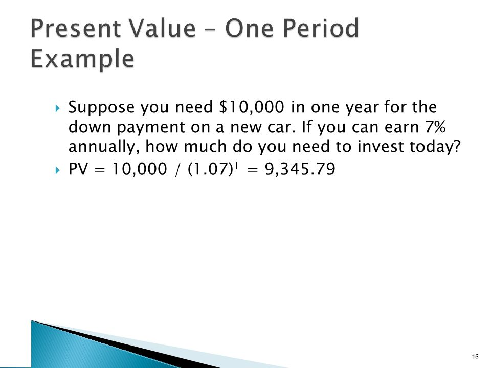 Suppose you need $10,000 in one year for the down payment on a new car. If you can earn 7% annually, how much do you need to invest today? PV = 10,000