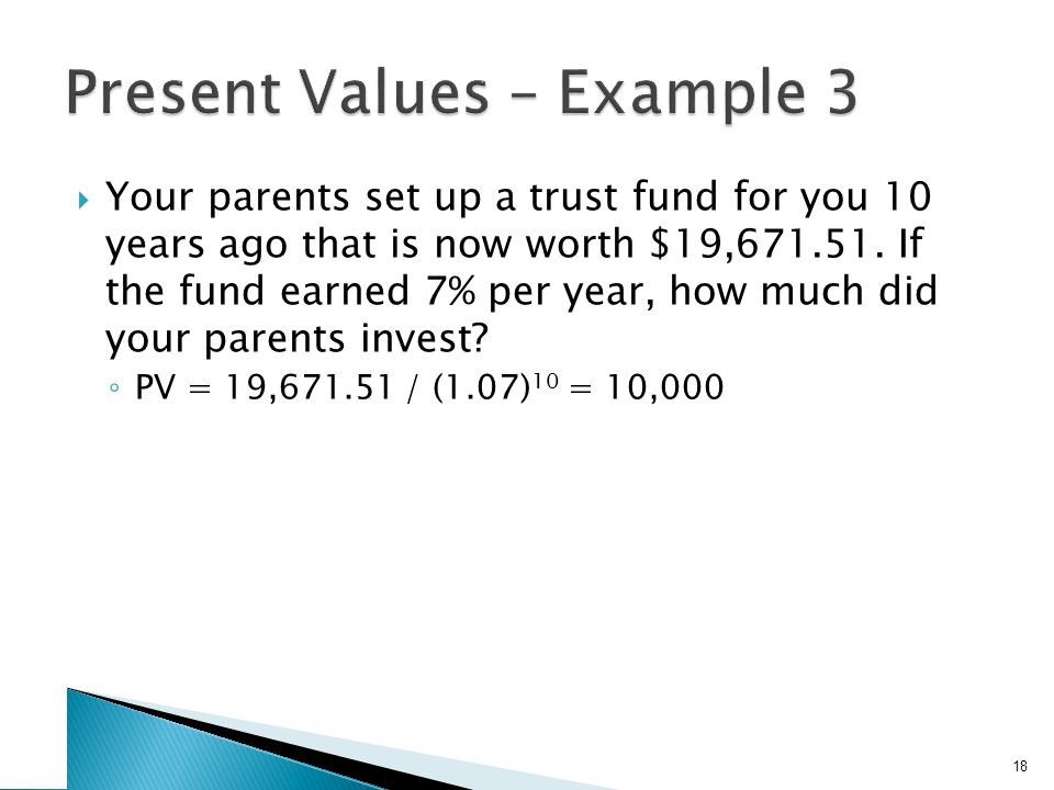 Your parents set up a trust fund for you 10 years ago that is now worth $19,671.51. If the fund earned 7% per year, how much did your parents invest?