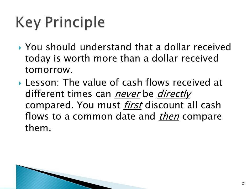 You should understand that a dollar received today is worth more than a dollar received tomorrow. Lesson: The value of cash flows received at differen