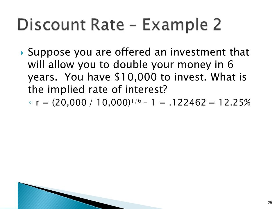 Suppose you are offered an investment that will allow you to double your money in 6 years. You have $10,000 to invest. What is the implied rate of int