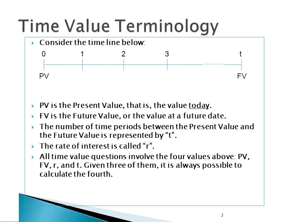 3 Consider the time line below: PV is the Present Value, that is, the value today. FV is the Future Value, or the value at a future date. The number o