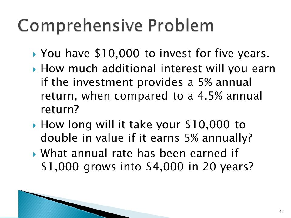 You have $10,000 to invest for five years. How much additional interest will you earn if the investment provides a 5% annual return, when compared to