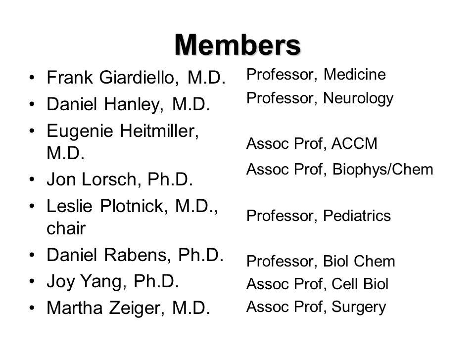 Members Frank Giardiello, M.D. Daniel Hanley, M.D.