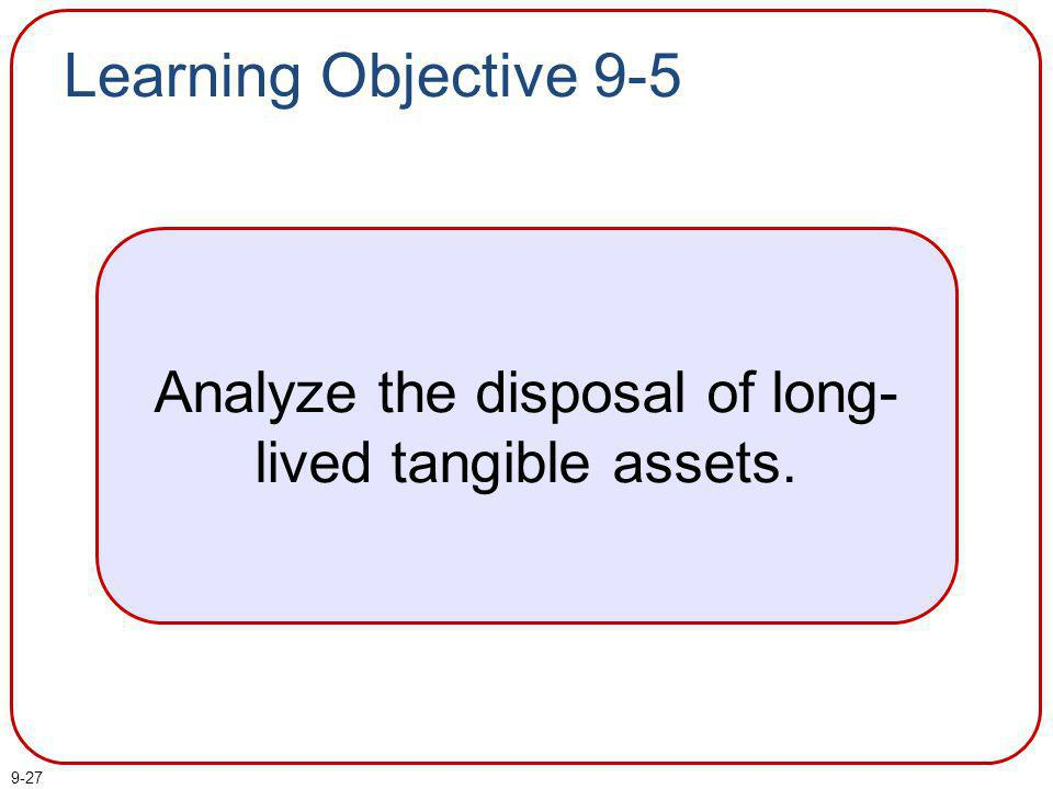 9-27 Learning Objective 9-5 Analyze the disposal of long- lived tangible assets.