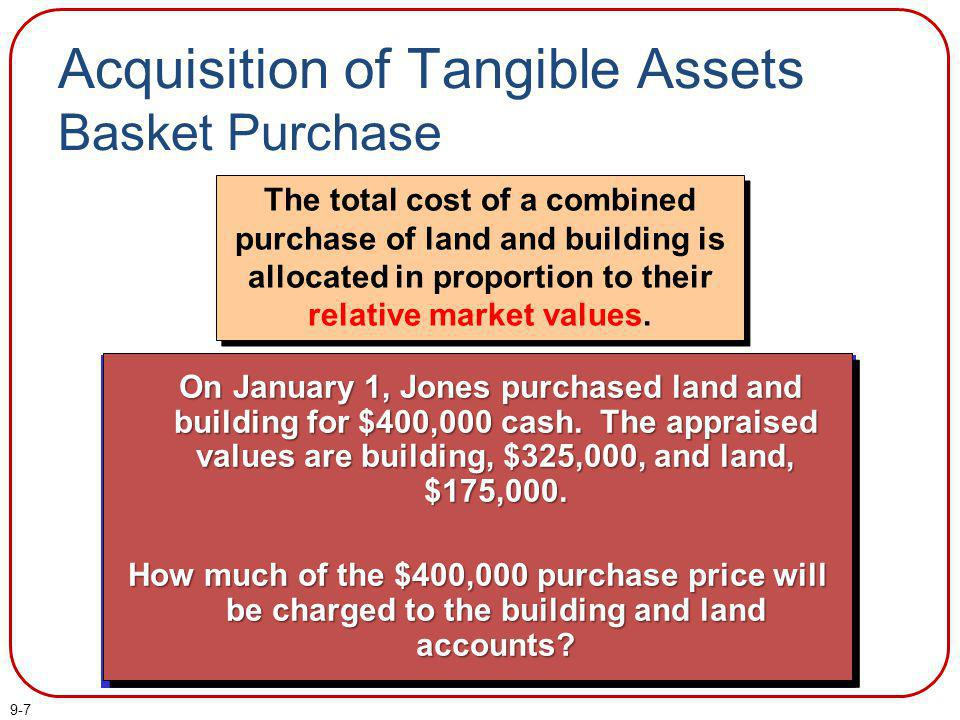 9-7 The total cost of a combined purchase of land and building is allocated in proportion to their relative market values. Acquisition of Tangible Ass