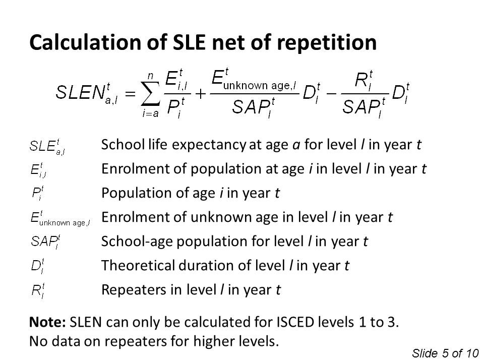 School life expectancy at age a for level l in year t Enrolment of population at age i in level l in year t Population of age i in year t Enrolment of
