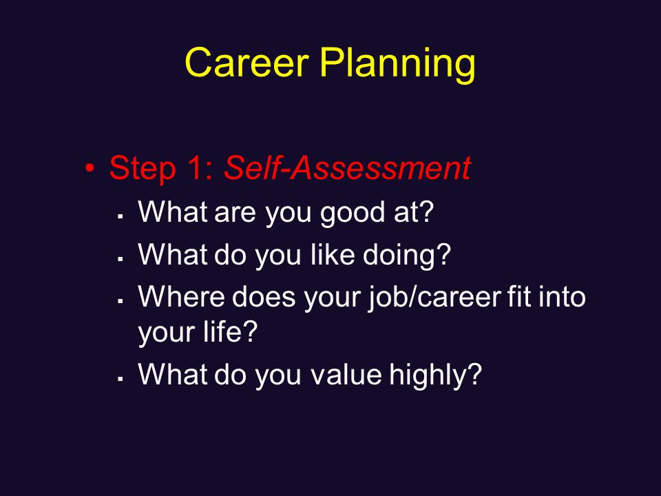 Career Planning Step 1: Self-Assessment What are you good at.