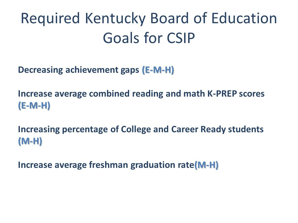Required Kentucky Board of Education Goals for CSIP (E-M-H) Decreasing achievement gaps (E-M-H) (E-M-H) Increase average combined reading and math K-P