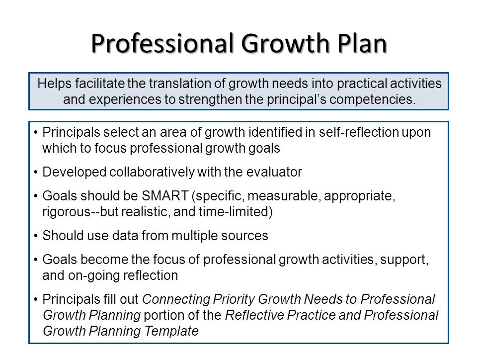 Professional Growth Plan Helps facilitate the translation of growth needs into practical activities and experiences to strengthen the principals compe