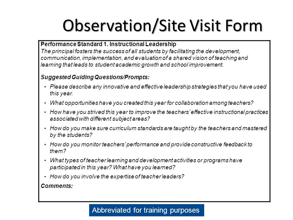 Observation/Site Visit Form Performance Standard 1. Instructional Leadership The principal fosters the success of all students by facilitating the dev