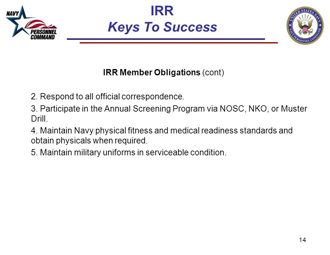 14 IRR Keys To Success IRR Member Obligations (cont) 2. Respond to all official correspondence. 3. Participate in the Annual Screening Program via NOS