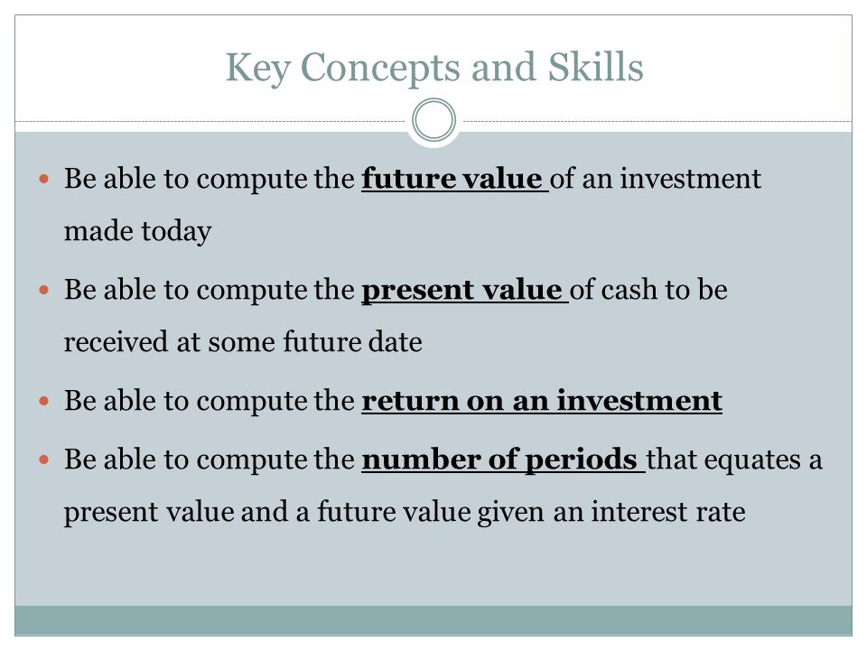 Key Concepts and Skills Be able to compute the future value of an investment made today Be able to compute the present value of cash to be received at