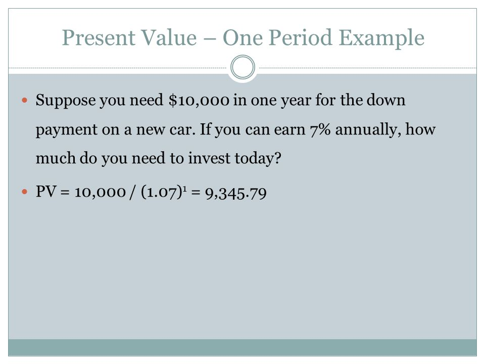Present Value – One Period Example Suppose you need $10,000 in one year for the down payment on a new car. If you can earn 7% annually, how much do yo