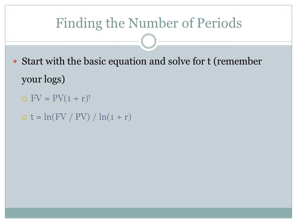 Start with the basic equation and solve for t (remember your logs) FV = PV(1 + r) t t = ln(FV / PV) / ln(1 + r) Finding the Number of Periods