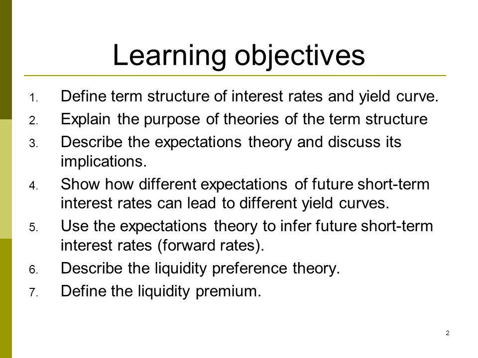 2 Learning objectives 1. Define term structure of interest rates and yield curve. 2. Explain the purpose of theories of the term structure 3. Describe