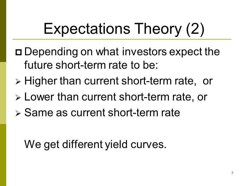 7 Expectations Theory (2) Depending on what investors expect the future short-term rate to be: Higher than current short-term rate, or Lower than curr