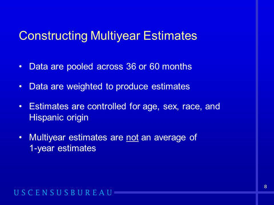 8 Constructing Multiyear Estimates Data are pooled across 36 or 60 months Data are weighted to produce estimates Estimates are controlled for age, sex, race, and Hispanic origin Multiyear estimates are not an average of 1-year estimates