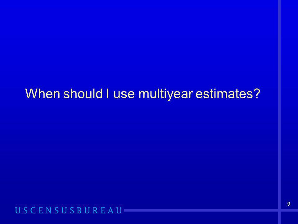 9 When should I use multiyear estimates