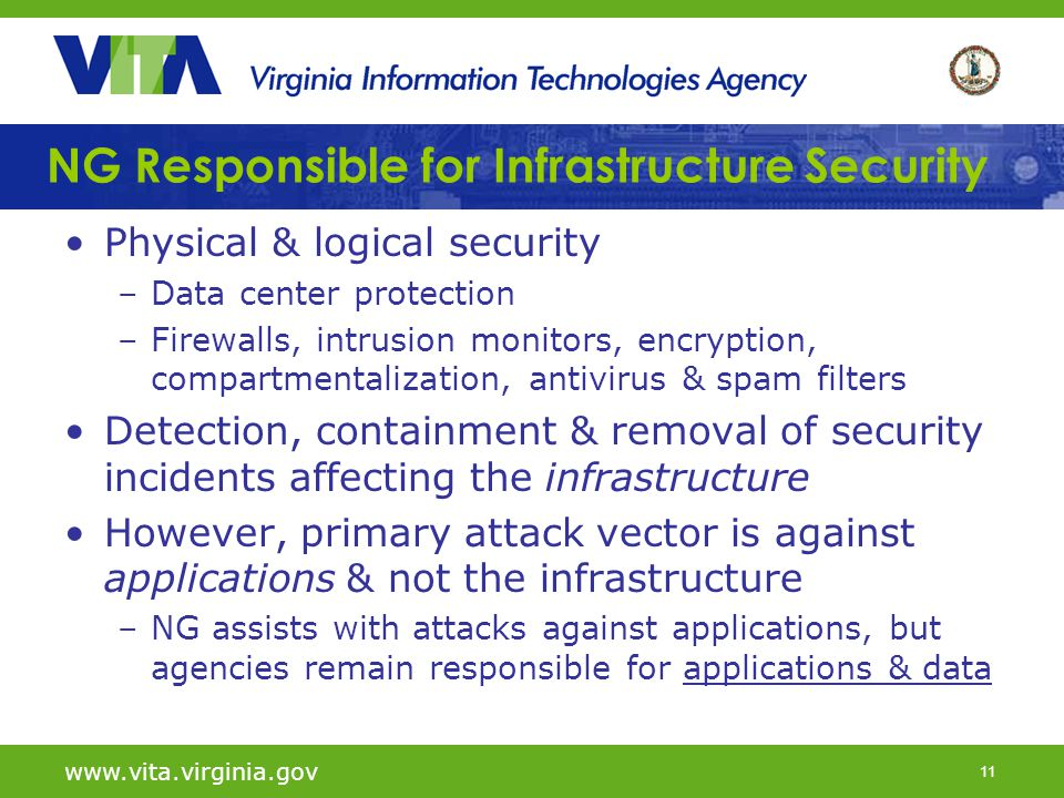 11 NG Responsible for Infrastructure Security Physical & logical security –Data center protection –Firewalls, intrusion monitors, encryption, compartm