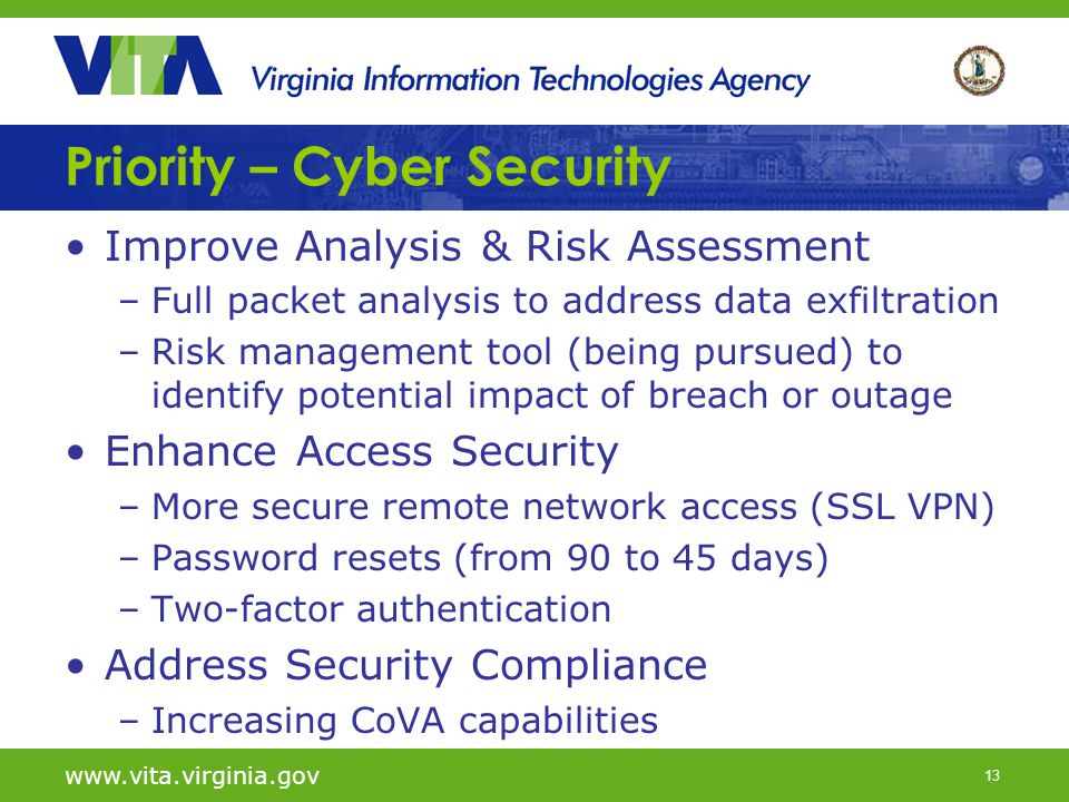 13 Priority – Cyber Security Improve Analysis & Risk Assessment –Full packet analysis to address data exfiltration –Risk management tool (being pursue