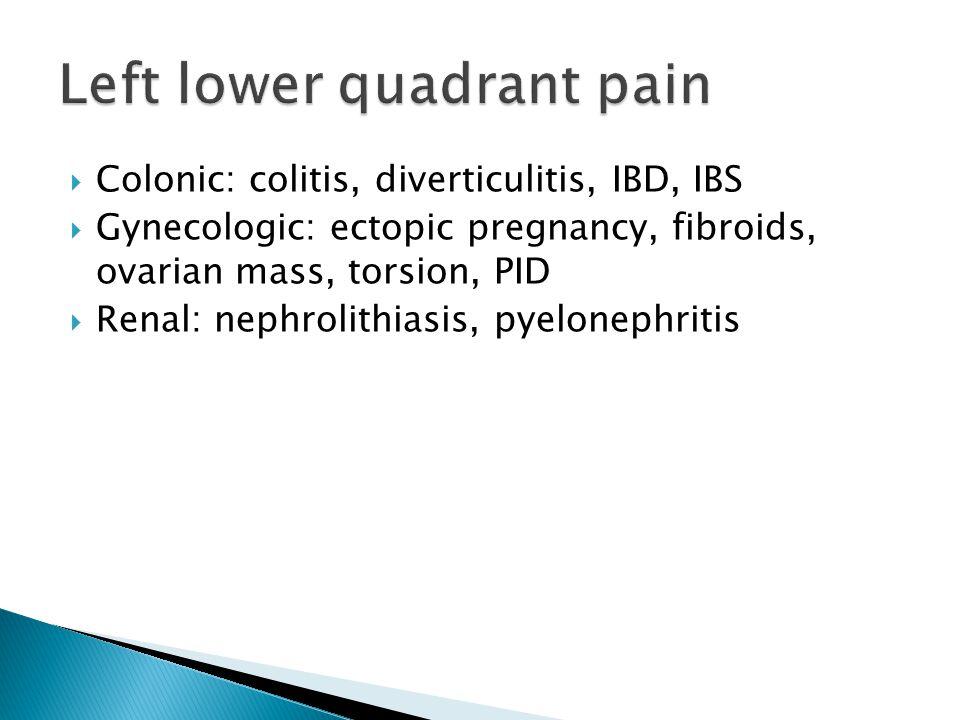 Colonic: colitis, diverticulitis, IBD, IBS Gynecologic: ectopic pregnancy, fibroids, ovarian mass, torsion, PID Renal: nephrolithiasis, pyelonephritis