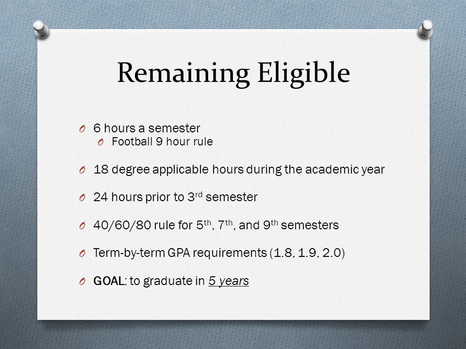 Remaining Eligible O 6 hours a semester O Football 9 hour rule O 18 degree applicable hours during the academic year O 24 hours prior to 3 rd semester O 40/60/80 rule for 5 th, 7 th, and 9 th semesters O Term-by-term GPA requirements (1.8, 1.9, 2.0) O GOAL: to graduate in 5 years