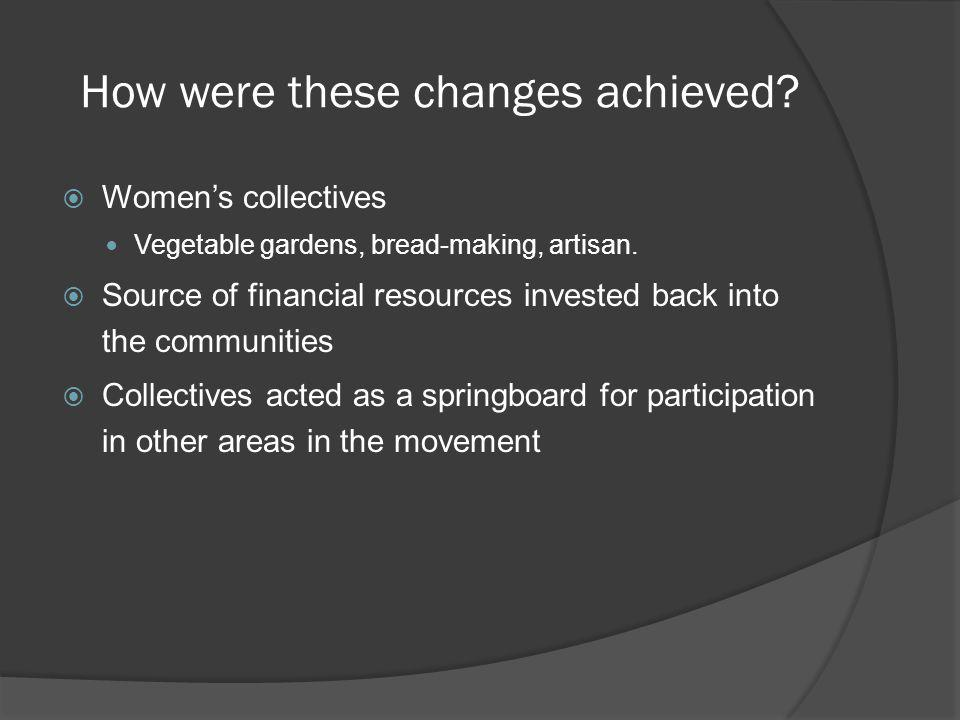 How were these changes achieved? Womens collectives Vegetable gardens, bread-making, artisan. Source of financial resources invested back into the com