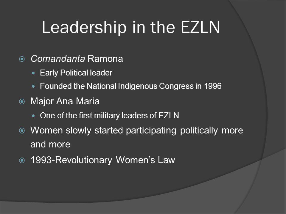 Leadership in the EZLN Comandanta Ramona Early Political leader Founded the National Indigenous Congress in 1996 Major Ana Maria One of the first mili
