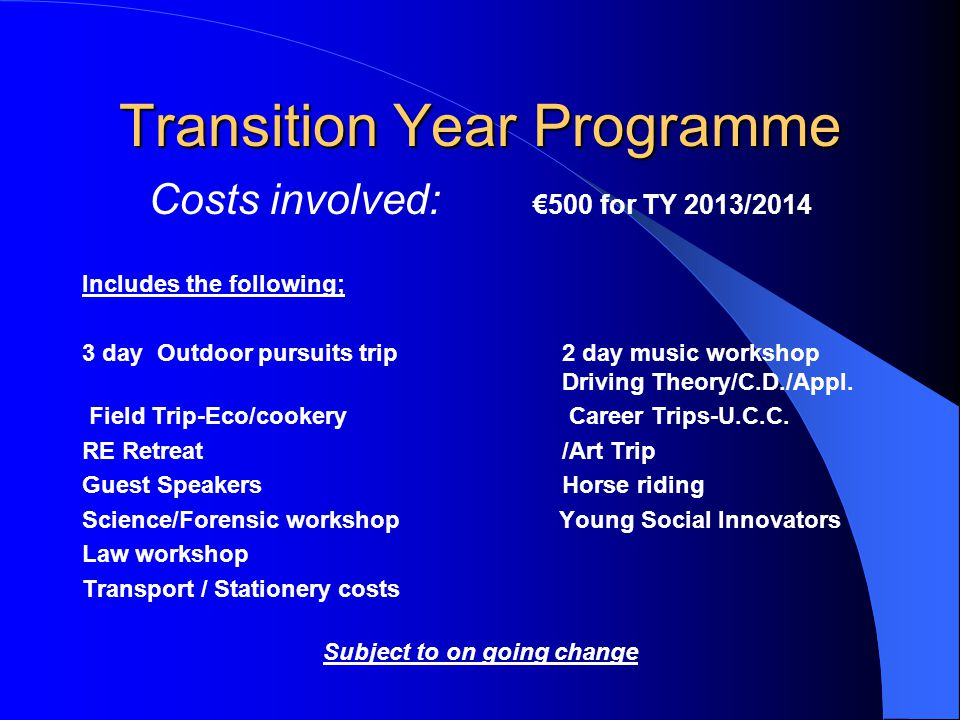 Transition Year Programme Costs involved: 500 for TY 2013/2014 Includes the following; 3 day Outdoor pursuits trip 2 day music workshop Driving Theory/C.D./Appl.