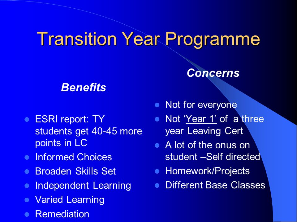 Transition Year Programme Benefits ESRI report: TY students get 40-45 more points in LC Informed Choices Broaden Skills Set Independent Learning Varied Learning Remediation Concerns Not for everyone Not Year 1 of a three year Leaving Cert A lot of the onus on student –Self directed Homework/Projects Different Base Classes