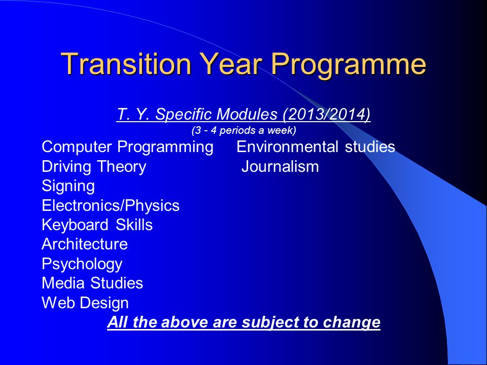Transition Year Programme T. Y.