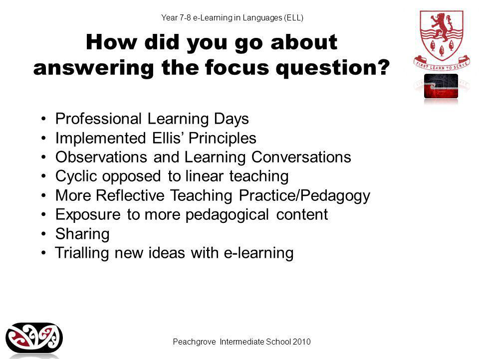Year 7-8 e-Learning in Languages (ELL) How did you go about answering the focus question.