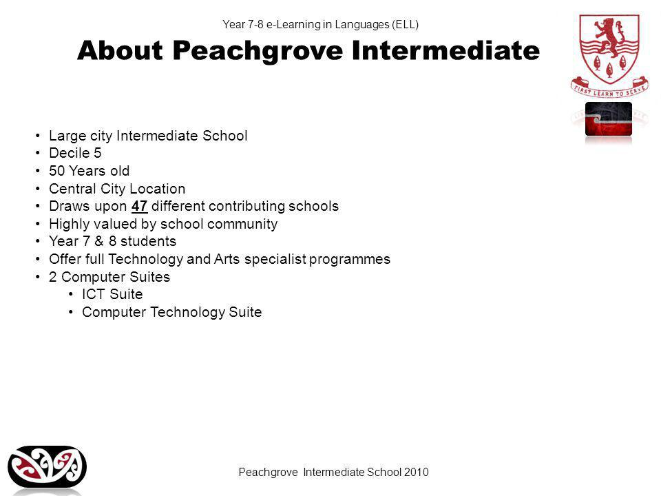 Peachgrove Intermediate School 2010 Year 7-8 e-Learning in Languages (ELL) About Peachgrove Intermediate Large city Intermediate School Decile 5 50 Years old Central City Location Draws upon 47 different contributing schools Highly valued by school community Year 7 & 8 students Offer full Technology and Arts specialist programmes 2 Computer Suites ICT Suite Computer Technology Suite