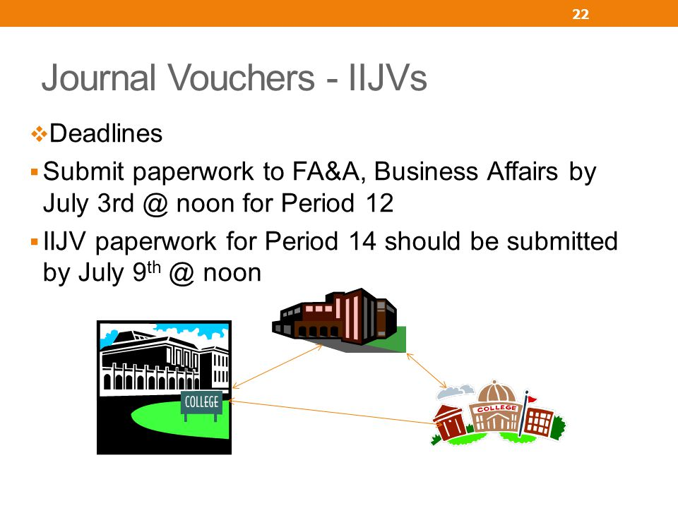 Journal Vouchers - IIJVs Deadlines Submit paperwork to FA&A, Business Affairs by July 3rd @ noon for Period 12 IIJV paperwork for Period 14 should be