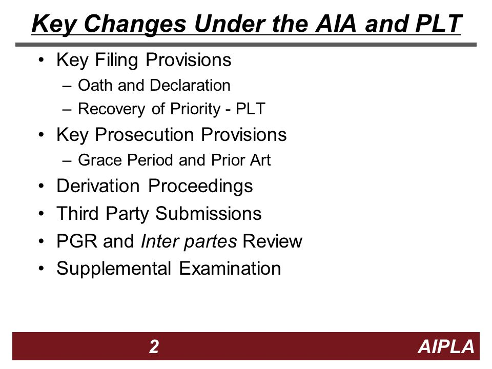 13 13 AIPLA Firm Logo Transition Period for New Applications New Filing of regular, provisional, PCT or foreign application to get old law grace period 13 Act Signed Section 3(n)(1)(A) provides an 18 month window before new §102 applies to new applications Applications claiming priority from applications filed in the Window may have old law grace period 18 -month Window Now Closed Paris Convention, National Stage, Continuation, Divisional and CIP Filing to get old law grace period – no claim with post Window effective filing date