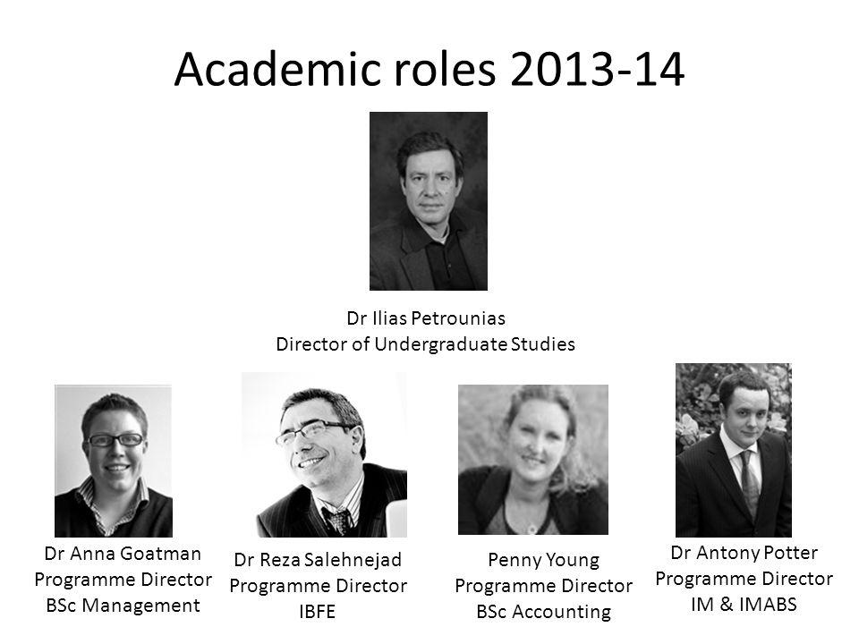 Academic roles 2013-14 Dr Ilias Petrounias Director of Undergraduate Studies Dr Anna Goatman Programme Director BSc Management Dr Reza Salehnejad Programme Director IBFE Dr Antony Potter Programme Director IM & IMABS Penny Young Programme Director BSc Accounting