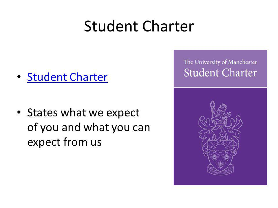 Student Charter States what we expect of you and what you can expect from us