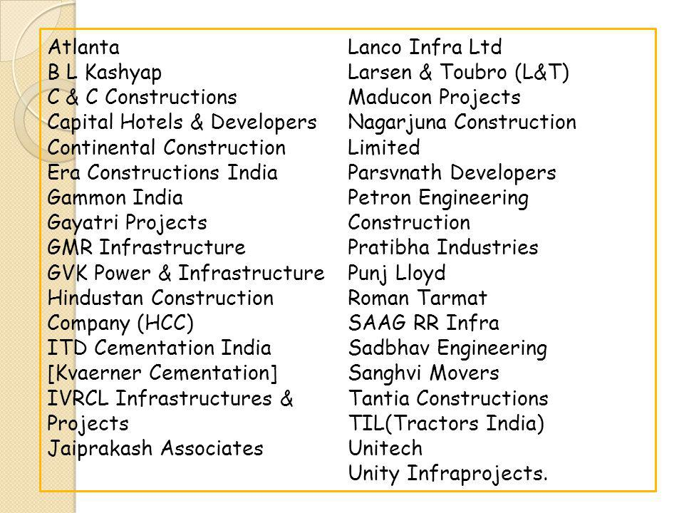 Atlanta B L Kashyap C & C Constructions Capital Hotels & Developers Continental Construction Era Constructions India Gammon India Gayatri Projects GMR Infrastructure GVK Power & Infrastructure Hindustan Construction Company (HCC) ITD Cementation India [Kvaerner Cementation] IVRCL Infrastructures & Projects Jaiprakash Associates Lanco Infra Ltd Larsen & Toubro (L&T) Maducon Projects Nagarjuna Construction Limited Parsvnath Developers Petron Engineering Construction Pratibha Industries Punj Lloyd Roman Tarmat SAAG RR Infra Sadbhav Engineering Sanghvi Movers Tantia Constructions TIL(Tractors India) Unitech Unity Infraprojects.