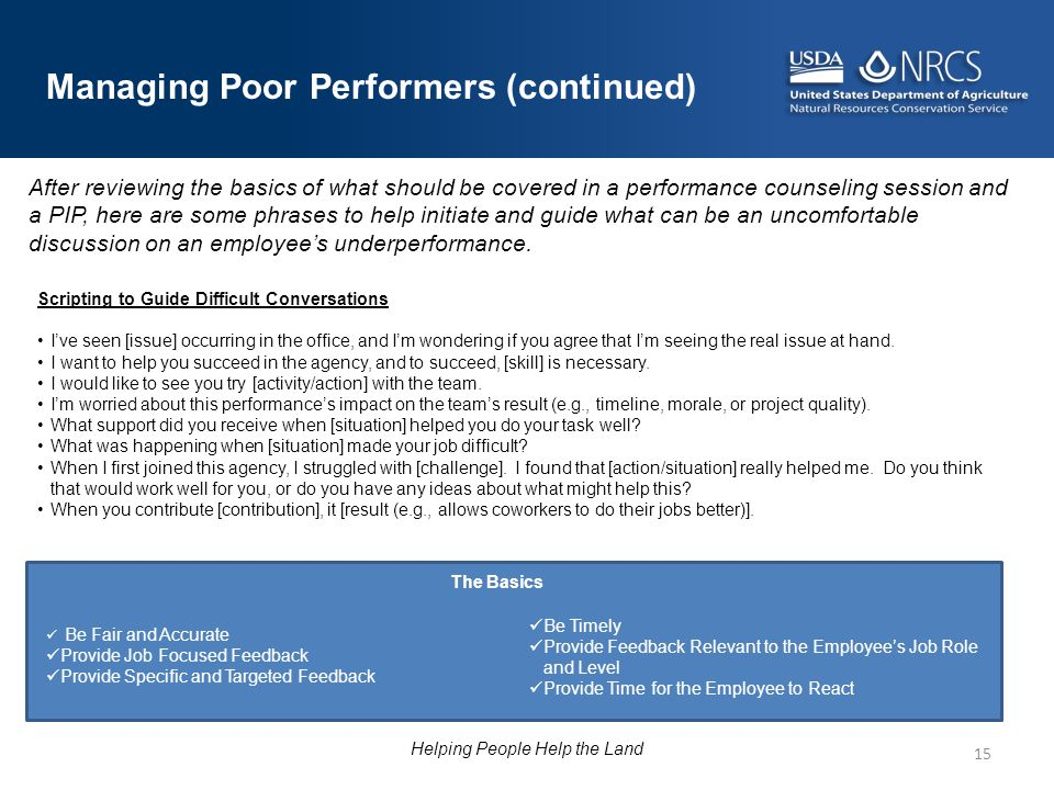 15 Managing Poor Performers (continued) After reviewing the basics of what should be covered in a performance counseling session and a PIP, here are s