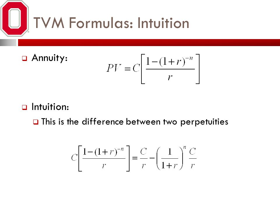 TVM Formulas: Intuition Annuity: Intuition: This is the difference between two perpetuities