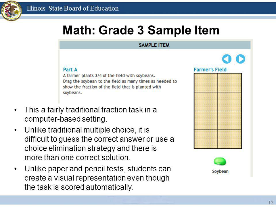 Math: Grade 3 Sample Item 13 This a fairly traditional fraction task in a computer-based setting.