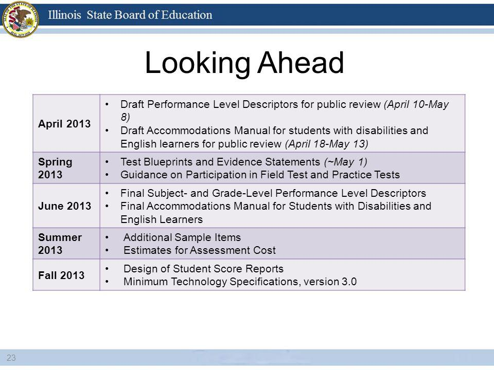 Looking Ahead 23 April 2013 Draft Performance Level Descriptors for public review (April 10-May 8) Draft Accommodations Manual for students with disabilities and English learners for public review (April 18-May 13) Spring 2013 Test Blueprints and Evidence Statements (~May 1) Guidance on Participation in Field Test and Practice Tests June 2013 Final Subject- and Grade-Level Performance Level Descriptors Final Accommodations Manual for Students with Disabilities and English Learners Summer 2013 Additional Sample Items Estimates for Assessment Cost Fall 2013 Design of Student Score Reports Minimum Technology Specifications, version 3.0