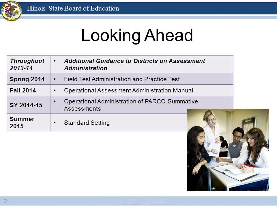 Looking Ahead 24 Throughout 2013-14 Additional Guidance to Districts on Assessment Administration Spring 2014Field Test Administration and Practice Test Fall 2014Operational Assessment Administration Manual SY 2014-15 Operational Administration of PARCC Summative Assessments Summer 2015 Standard Setting