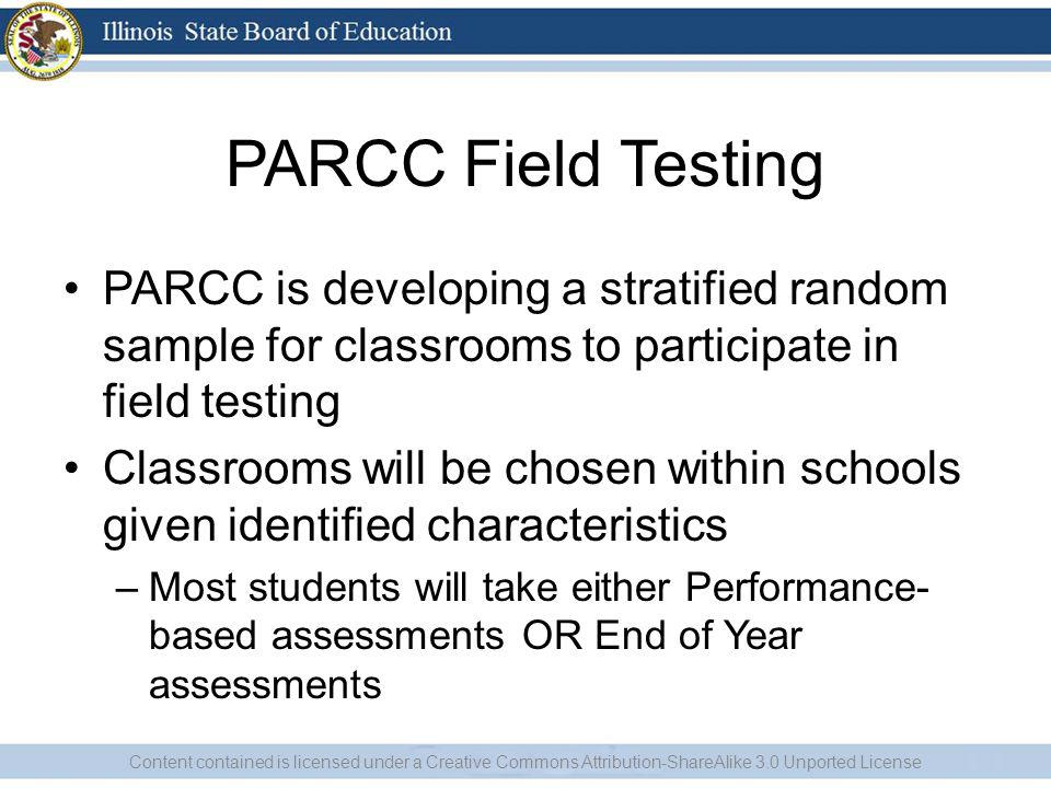 PARCC Field Testing PARCC is developing a stratified random sample for classrooms to participate in field testing Classrooms will be chosen within sch