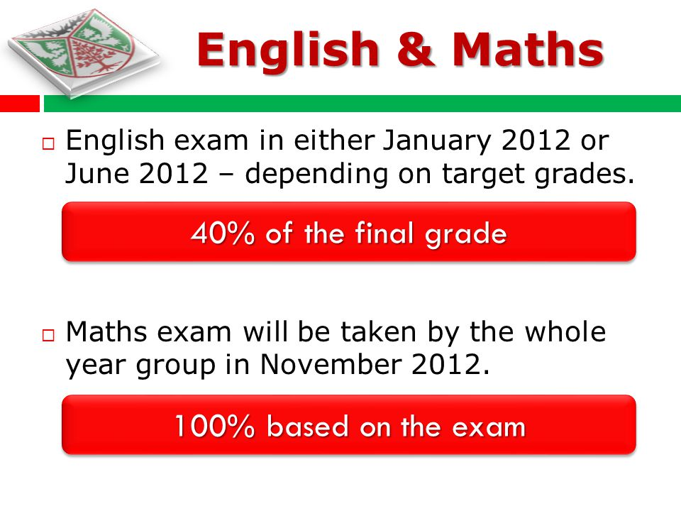 Priority - Maths / English English exam in either January 2012 or June 2012 – depending on target grades. Maths exam will be taken by the whole year g
