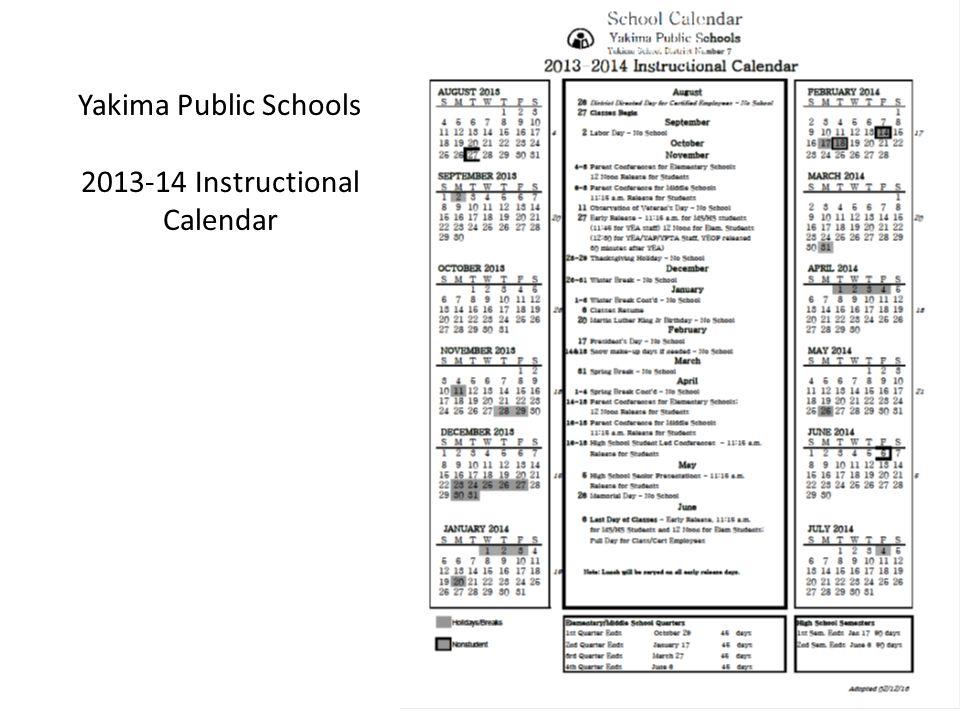 Yakima Public Schools 2013-14 Instructional Calendar