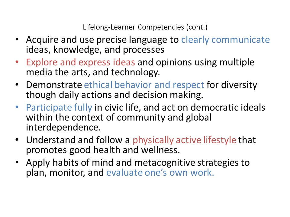 Lifelong-Learner Competencies (cont.) Acquire and use precise language to clearly communicate ideas, knowledge, and processes Explore and express idea