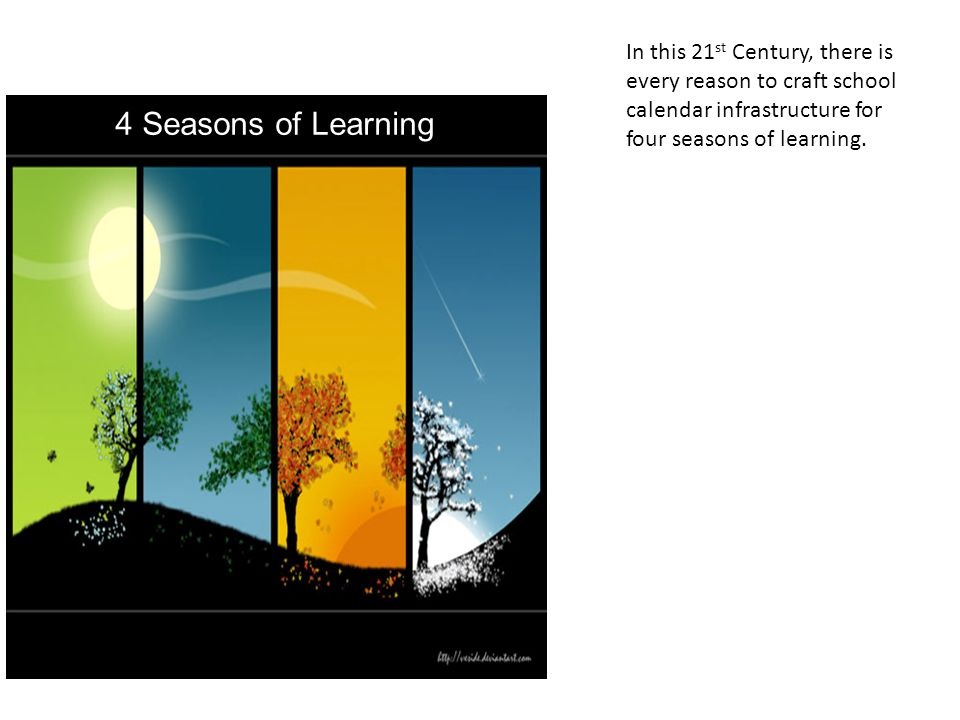 4 Seasons of Learning In this 21 st Century, there is every reason to craft school calendar infrastructure for four seasons of learning.