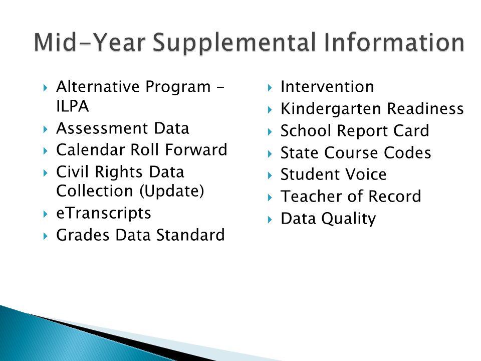 Mid-Year Supplemental Information Alternative Program - ILPA Assessment Data Calendar Roll Forward Civil Rights Data Collection (Update) eTranscripts Grades Data Standard Intervention Kindergarten Readiness School Report Card State Course Codes Student Voice Teacher of Record Data Quality